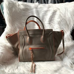 CELINE Luggage phantom tote Bag Gray/Orange
